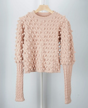 Women Sweater Spot Handmade Nail Ball Mohair Sweet  Pink Lantern Sleeve Wool Sweater Female