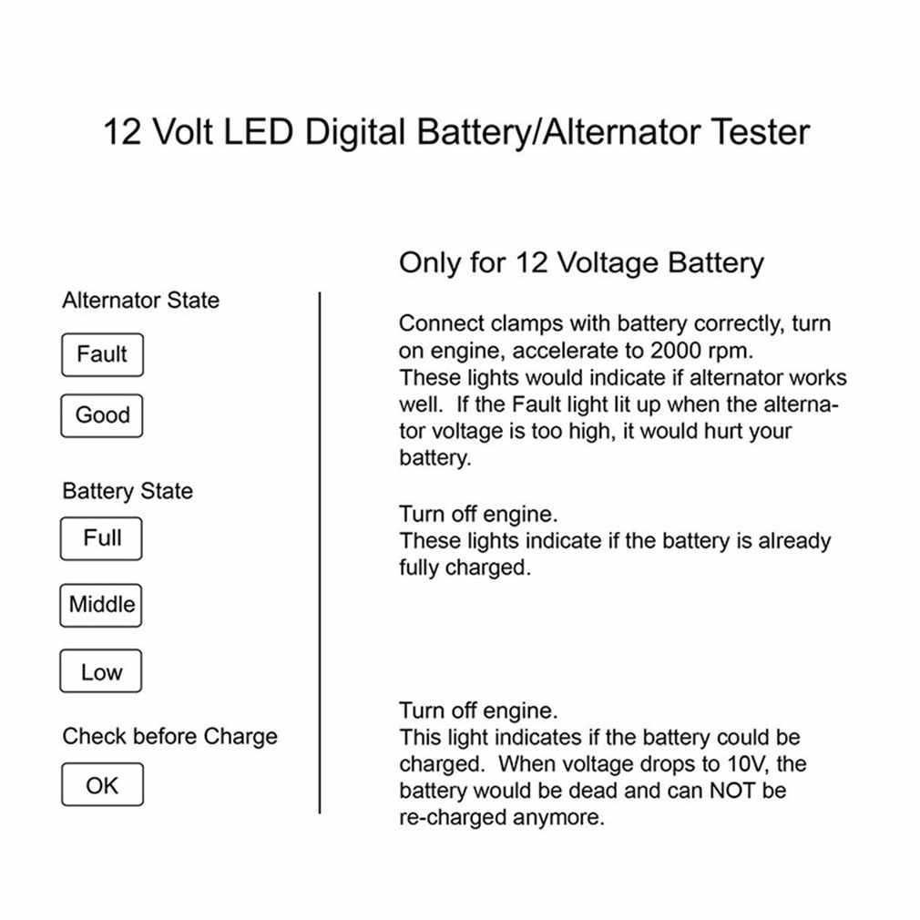 سيارة جهاز اختبار بطارية 12 فولت 6 مصباح ليد السيارات الرقمية المولد شحن تستر لسيارة دراجة نارية السيارات أداة التشخيص