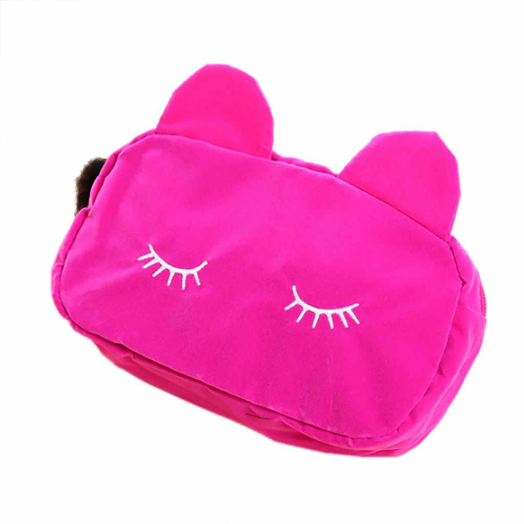 2019 sıcak taşınabilir karikatür kedi makyaj çantası sikke saklama kutusu seyahat makyaj pazen kılıfı sevimli kozmetik çantası kılıfları kadınlar kızlar için