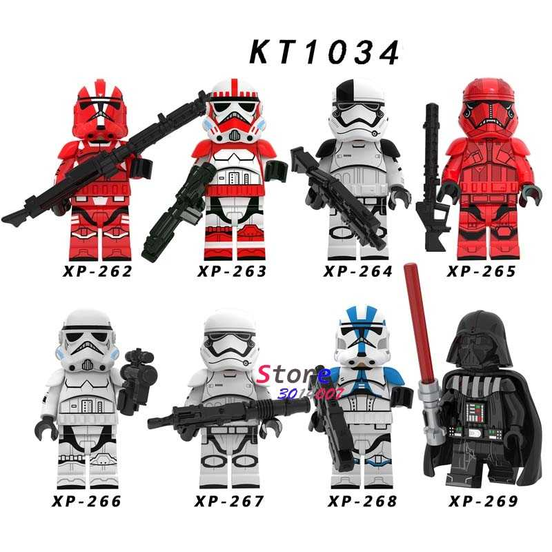 SINGLE Star Wars Mandalorian พายุ Troopers Clones Skywalker Leia Darth Vader Han SOLO C3PO Building Blocks อิฐของเล่น