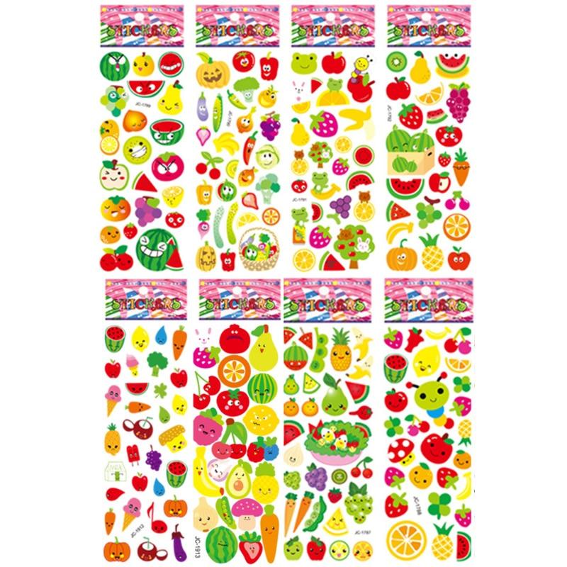 8 Sheets/set Children Cartoon Sticker Fruit And Vegetable DIY Scrapbook Stickers For Kids Kindergarten Boy Girl Cognitive Toys