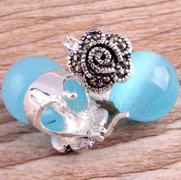 Biżuteria Jade kolczyk Vintage damski biały/niebieski opal 925 srebro kolczyki Marcasite darmowa wysyłka
