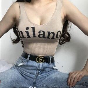 Image 2 - ¡HELIAR Tops mujer tejidos Sexy Crop Tops cuello pico Lettering milano! Camis Lady Slim Night Top corto de fiesta verano Crop Tops mujer