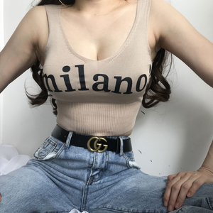 Image 2 - Heliarトップス女性ニットセクシーな作物はvネックレタリングミラノ! キャミソール女性スリムナイトクラブクロップトップ夏の作物は女性