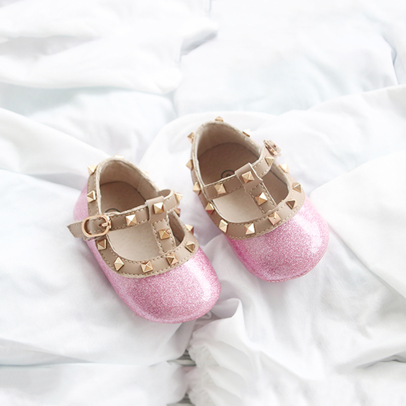 Cute! Baby Studs Shoes Newborn Shoes Baby Girls First Walker Genuine Leather Rivet Shoes For 3~18m Baby Pre-walkers Candy Color