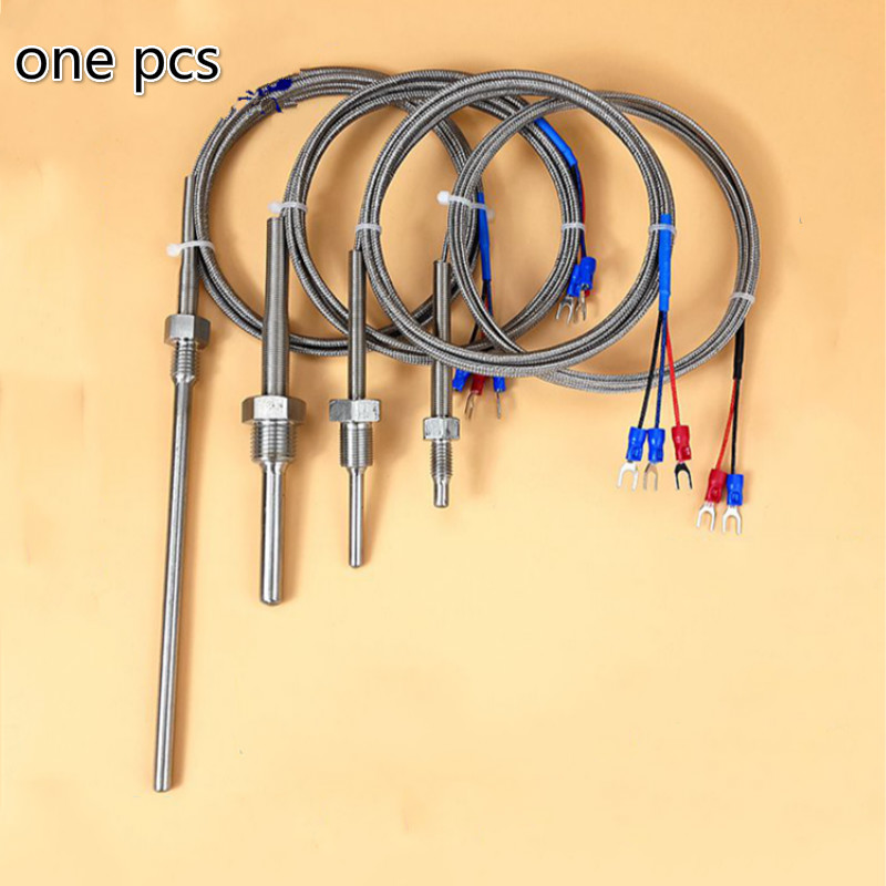 <font><b>BSP</b></font> 1/8 1/2 3/4 Thermowell Stainless steel Transducer PT100 K E type Temperature Sensor With 1.5m Cable Wires L50-300mm OD6mm image