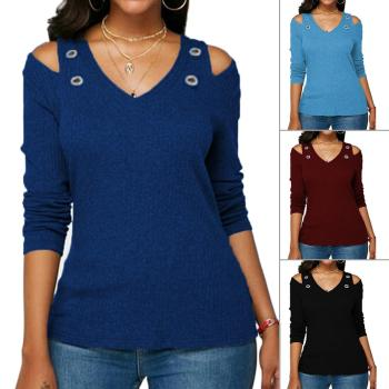Solid Color, Cold Shoulder, All Match Casual Women Solid Color O Neck Long Sleeve Cold Shoulder Holes Plus Size Blouse HOT SALES solid color cold shoulder all match casual women solid color o neck long sleeve cold shoulder holes plus size blouse hot sales