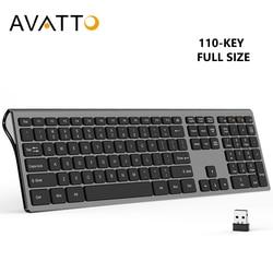 Avatto design mudo ultra-fino, teclado sem fio de tamanho completo 2.4 ghz com interruptor de tesoura para windows xp/vista/7/8/10, mac os