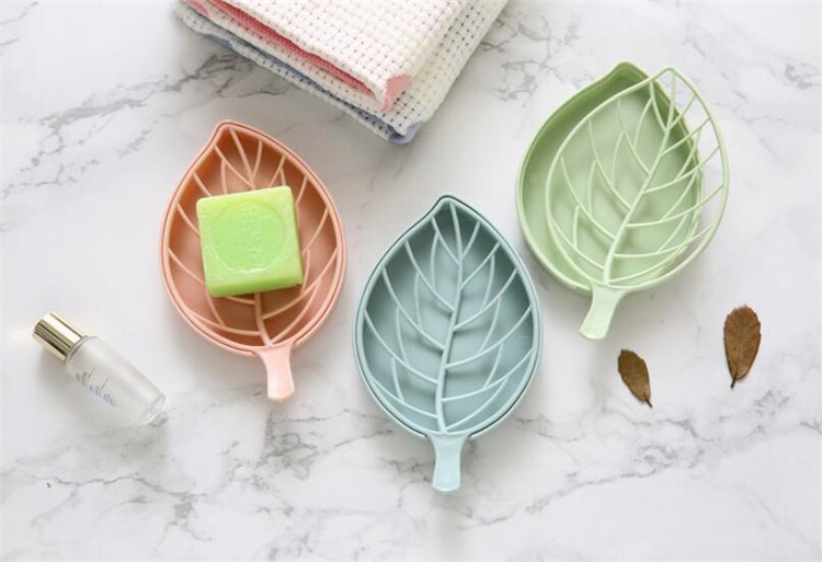 Leaves Shaped Soap Dish Double Layer Drain Soap Holde Box Anti-skid Bathroom Soap Storage Holder Accessories
