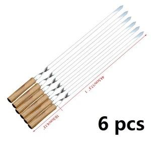 """Image 4 - Ensemble de brochettes pour Barbecue en acier inoxydable, 55cm, 21.5 """", Long manche en bois plat, aiguille pour Barbecue, Barbecue, outils dextérieur, 6 pièces"""