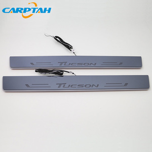 Image 4 - CARPTAH לקצץ חיצוני מכונית דוושת חלקי LED דלת אדן שפשוף צלחת מסלול סרט דינמי אור ליונדאי טוסון 2015  2018