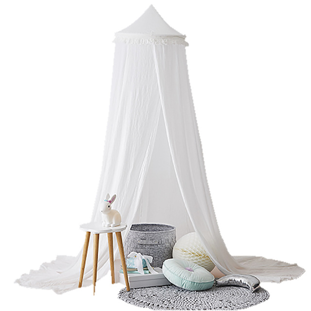 Round Cribs Baby Infant Mosquito Net Toddler Bed Crib Canopy Netting White Babe