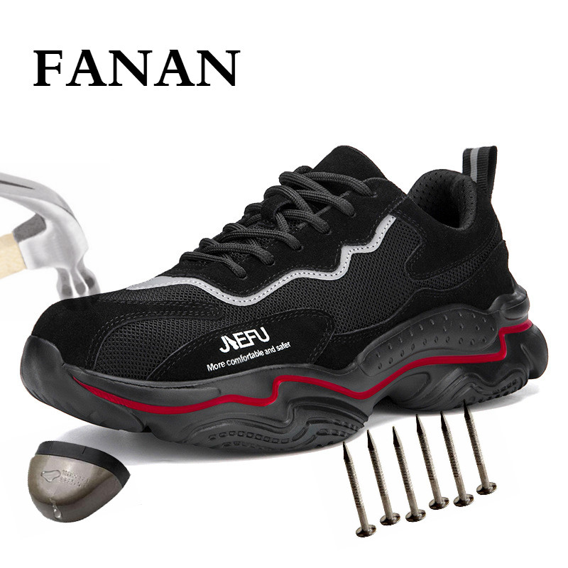 FANAN Men Dropshipping Puncture-Proof Safety Shoes Indestructible Non-slip Steel Toe Work Shoes Outdoor Breathable Shoes