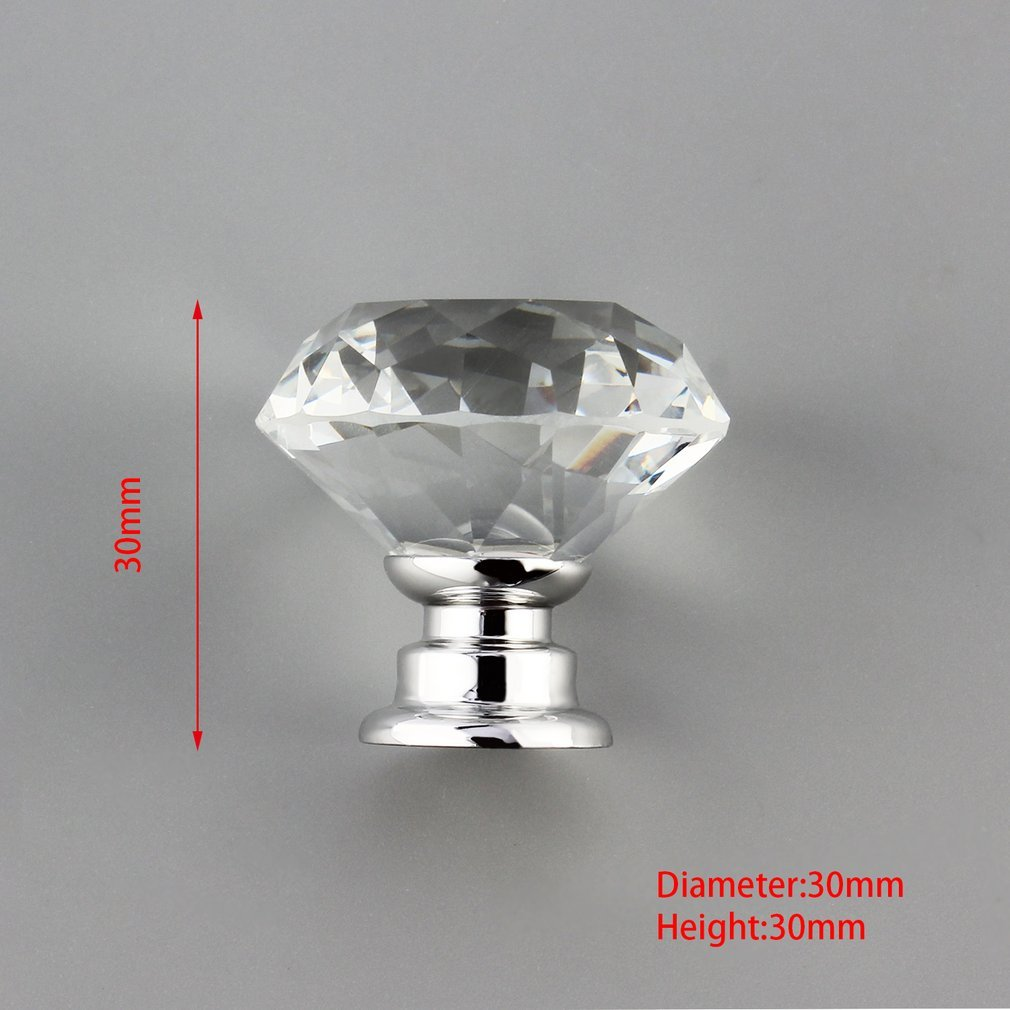 Купить с кэшбэком 10 Pcs 30mm Diamond Shape Crystal Glass Door Handle Knob for furniture Drawer Cabinet Kitchen Pull Handles Knobs Handle Wardrobe