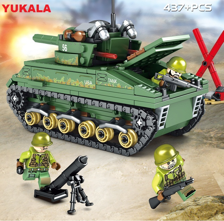 YUKALA Toys Military USA M4 Tank Building Blocks Compatible For Boys Army WW2 vehicle soldiers weapons bricks 437pcs/1061PCS image