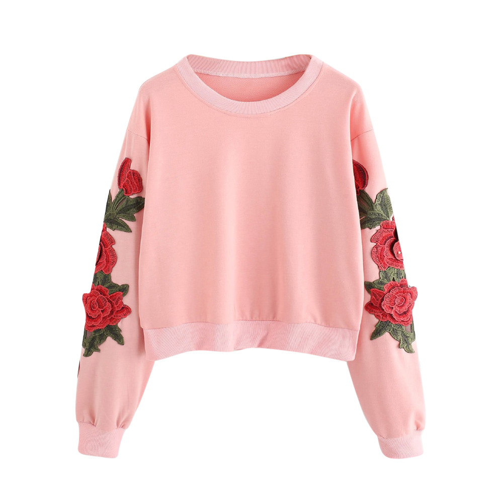 Women Long Sleeve Rose Embroidery Applique Sweatshirt O-Neck Pullover Top Blouse Winter Hoodie Women Jardinera Mujer