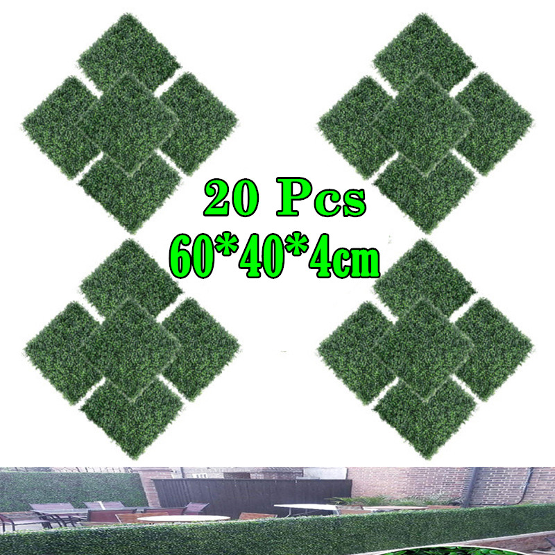 20pcs   Artificial Boxwood Hedge Panels, Backyard Grass Privacy Fence, Green, Plastic, Outdoor Greenery Screen, Faux Plant Wall