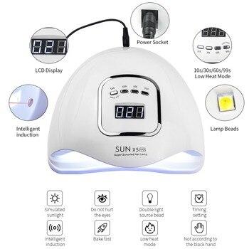 80W LED Nail Lamp Nail Dryer Dual hands 45 PCS LED UV Lamp For Curing UV Gel Nail Polish With Motion Sensing Manicure Salon Tool 1