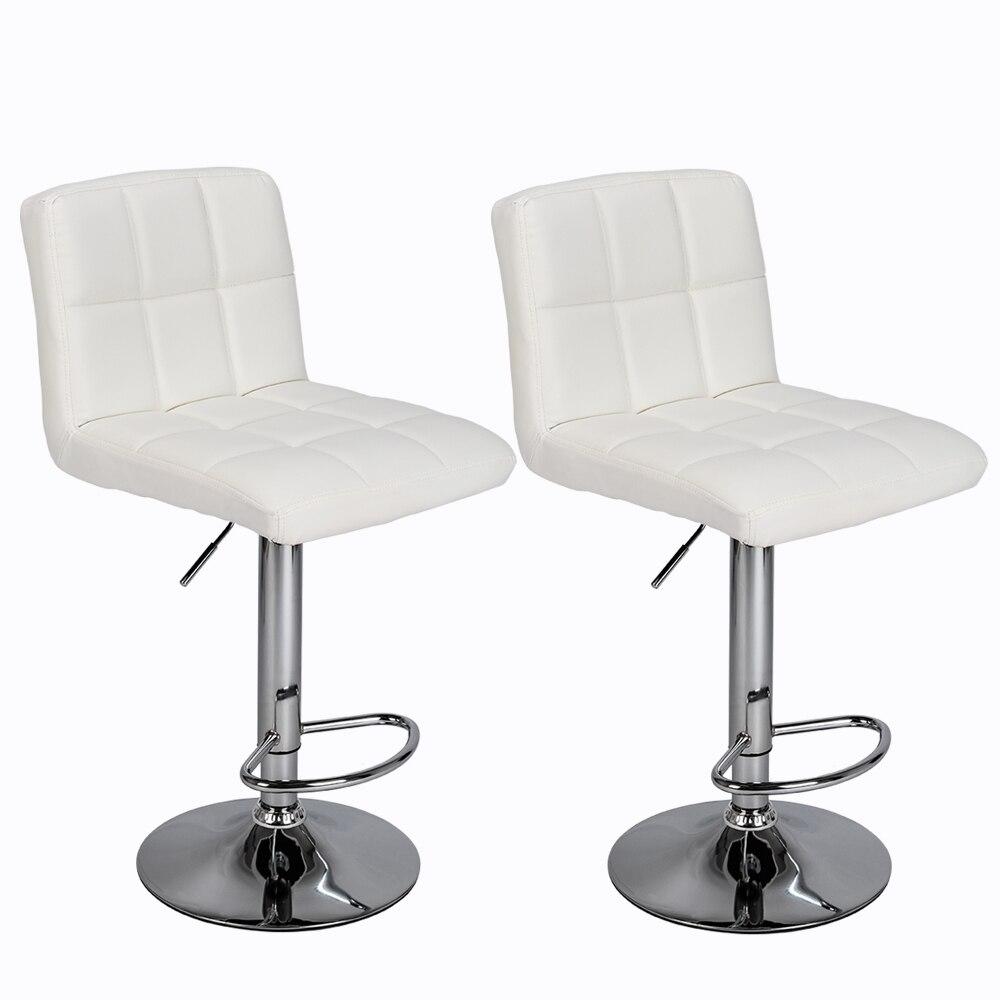 【UK Warehouse】2pcs 60-80cm 6 Checks Round Cushion No Armrest Bar Stool White  {Free Shipping UK} Drop Shipping