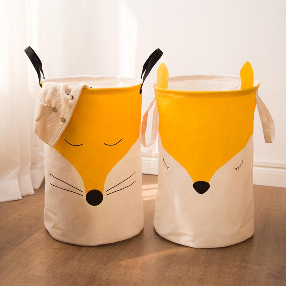 Foldable Cotton Linen Handle Fox Home Foldable Dirty Laundry Basket Canvas Storage Basket Barrel Creative Kids Toys Organizer