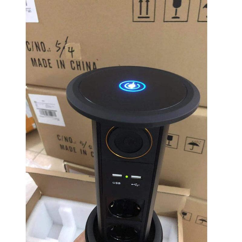 Écran tactile électrique motorisé levage cuisine prise de courant avec prises de courant + Bluetooth + USB chargeur vert indicateur de lumière + QI