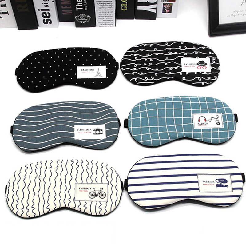Karikatür uyku maskesi Eyepatch yumuşak göz uyku maskesi moda çizgili pamuklu göz kapağı seyahat rahatlatıcı uyku yardım körü körüne