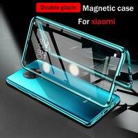 360 magnetische Adsorption Metall Fall Für Xiaomi Redmi Hinweis 10 9T 9 8 7 Pro 9A 9C Für Xiaomi 11 10T Lite Doppelseitige Glas Abdeckung