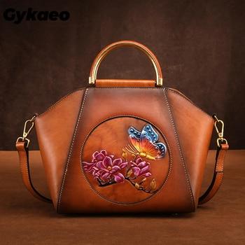 Women Genuine Leather Messenger Bag Handbag Flower Butterfly Pattern Famous Brand Cowhide Tote Shoulder Female Bags Sac A Main