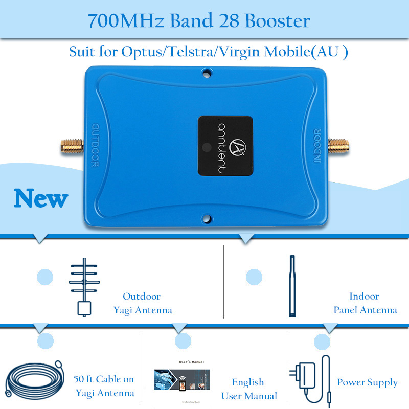 Amplificateur de signal 4g lte 700 MHz répéteur de signal mobile 4g amplificateur de signal cellulaire 700mhz bande 70dB 28 et ensemble complet yagi