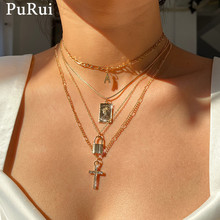 PuRui Gothic Chain Choker Necklace Aesthetic 4Pcs/Set Punk Crystal Lock Letter Cross Layered Pendant Necklace for Women Jewelry