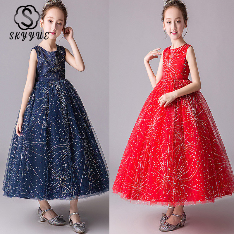 Skkyue   Flower     Girl     Dress   for Wedding Kid Party Shiny Star Printing Red O-neck Tulle Long Communion   Dress   4-15 Years 2019 BX2966