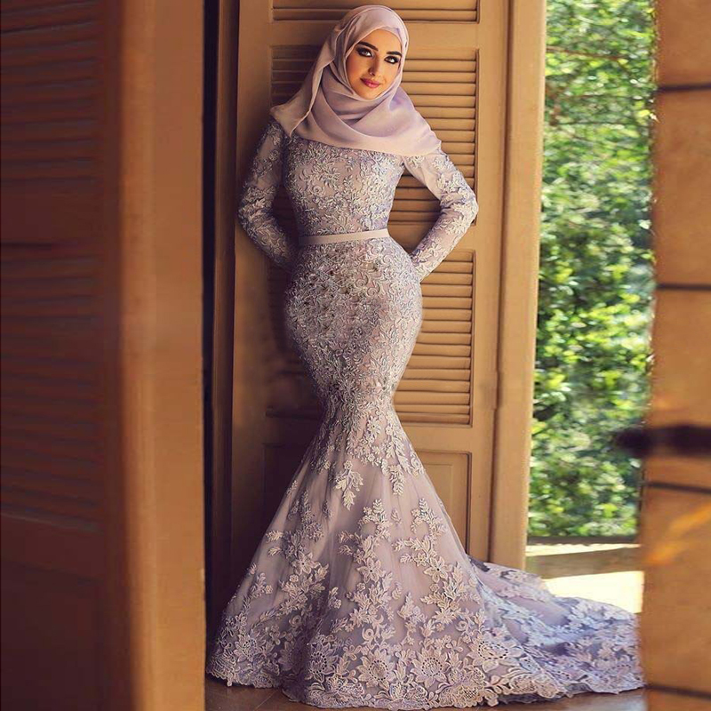 Long Sleeve Evening Gown Lace Appliques Mermaid With Hijab Turkey Dubai Kaftan Muslim Robe De Soriee Mother Of The Bride Dresses