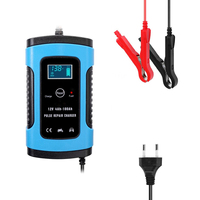 Automatic Charging Motorcycle Car Battery Charger Intelligent Repair Type for Lead Acid Storage Charger 12V 24V 6A Blue