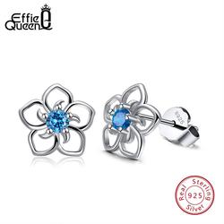 Effie Königin 925 Echt Sterling Silber Frauen Stud Ohrringe Blume Muster Blau AAA Zirkon Klassische Stil Partei Schmuck TSE71-L