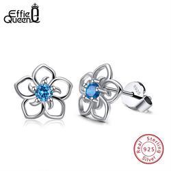 Effie Queen, женские серьги-гвоздики из настоящего серебра 925 пробы с цветочным узором, синий циркон ААА, классический стиль, ювелирные изделия дл...