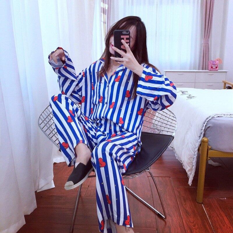 New Cartoon Sleepwear Heart Stripe Print Pajamas Sets Women Harajuku pajamas Men Women long sleeve shirt nighty Nightwear Set-in Pajama Sets from Underwear & Sleepwears
