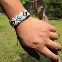 Amizade tecer envoltório geométrico padrão charme pulseira feminina moda boho artesanal chique menina yoga pulseras femme dropshipping