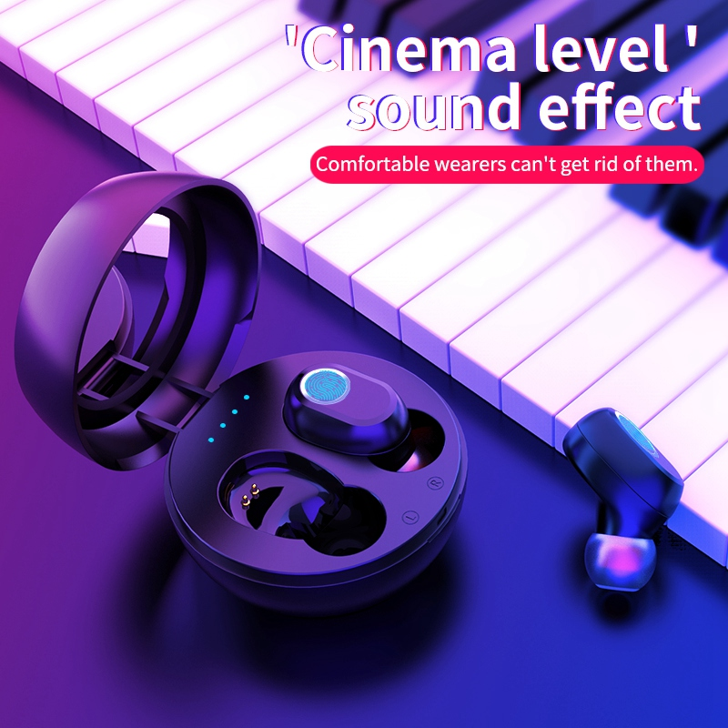 LB-10 <font><b>TWS</b></font> Wireless Earphones Bluetooth 5.0 Fingerprint Press Noise Cancelling Waterproof <font><b>6D</b></font> Stereo Music Headsets with Mirror image
