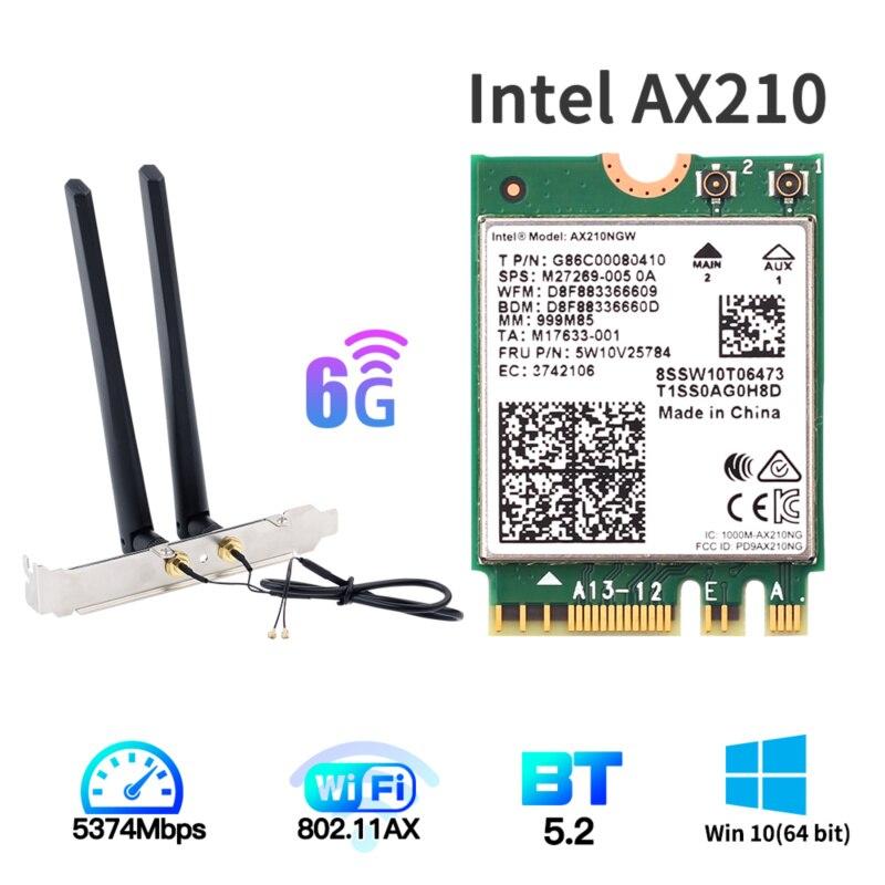 [해외] 듀얼 밴드 3000MBPS WIFI 6E 인텔 AX210 M.2 무선 카드 BLUETOOTH 5.2 - 듀얼 밴드 3000MBPS WIFI