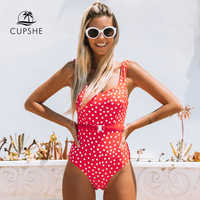 CUPSHE Red Polka Dot Belted One-Piece Swimsuit Women Sexy Backless Cut Out Monokini 2020 Girls Beach Bathing Suit Swimwear