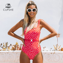 CUPSHE Red Polka Dot Belted One-Piece Swimsuit Women Sexy Backless Cut Out Monokini 2020 Girls Beach Bathing Suit Swimwear(China)