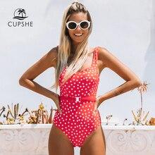 CUPSHE kırmızı Polka Dot kuşaklı tek parça mayo kadınlar seksi Backless Monokini kesip 2020 kızlar plaj mayo mayo