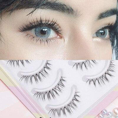 YOKPN False Eyelashes Naturally Simulated Thick Transparent Stem Fake Eyelashes Glimmer Beginner Makeup Tools Lashes W-7 1