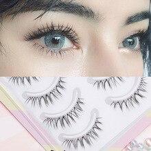 YOKPN False Eyelashes Naturally Simulated Thick Transparent Stem Fake Eyelashes Glimmer Beginner Makeup Tools Lashes W-7