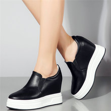 Casual Shoes Women Slip On Genuine Leather Wedges High Heel Vulcanized Shoes Female Round Toe Fashion Sneakers Slip On Trainers cresfimix femmes hauts talons women fashion comfortable slip on pu leather high heel shoes lady cute sweet office shoes b2915