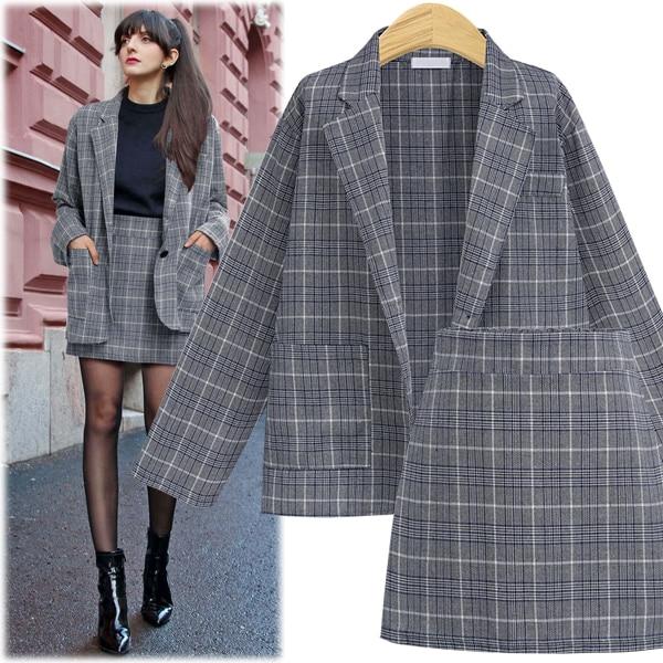 CINESSD 2 Pieces Sets Office Skirt Suits Women Autumn Single Button Notched Plaid Blazer Jackets Slim Mini Skirts Plus Size 4XL