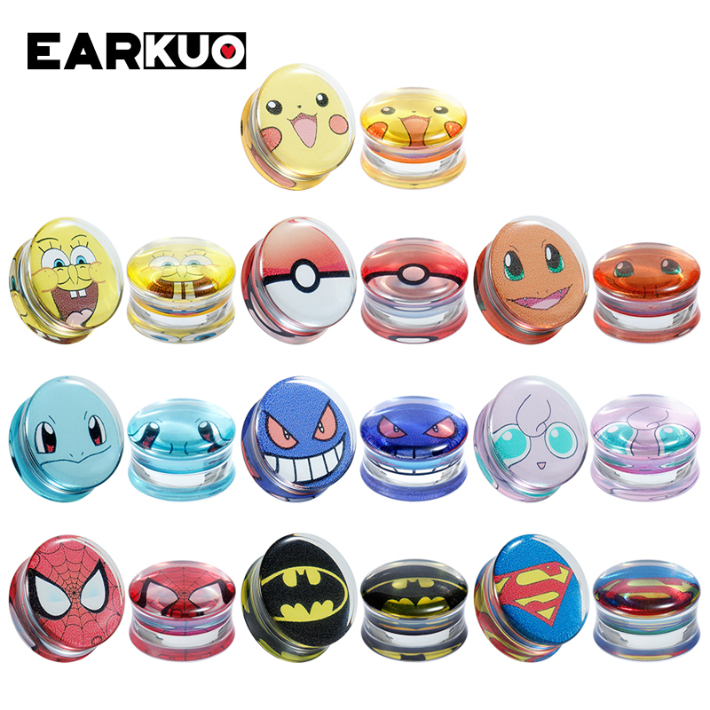 EARKUO Unique Top Selling Acrylic Ear Piercing Tunnels Gauges Stretchers Fashion Body Jewelry Earring Plugs Expanders 8-30mm
