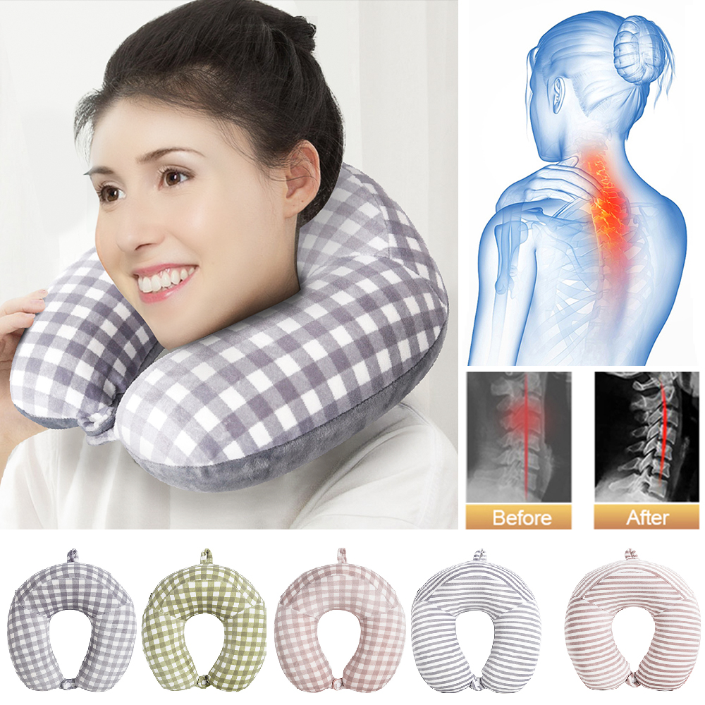 Memory Foam Neck & Cervical Pillow Travel Pillow for Airplane Car U Shape Flight Head Chin Support Cushion Office Nap Pillows image