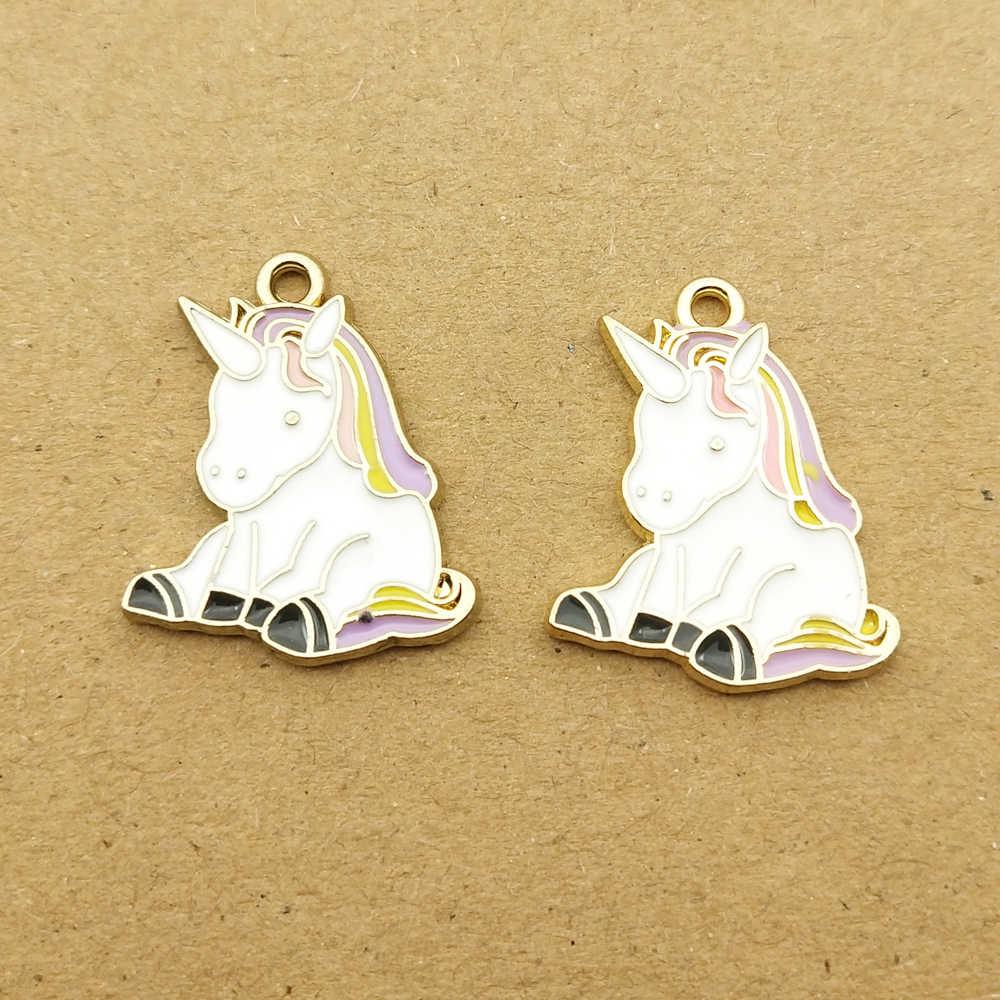 10Pcs Enamel Unicorn Horse Pendant Charm DIY Earrings Necklace Jewelry Findings