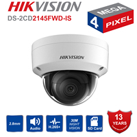 HikVISION Dome CCTV IP Camera Outdoor DS 2CD2145FWD IS 4MP IR Network Security Night Version Camera H.265 with SD Card Slot